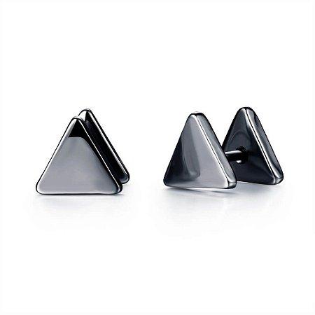 Brinco Masculino Triângulo  - Preto e Prata  - PAR