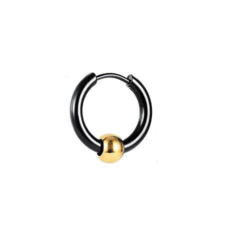 Brinco Masculino De Argola Esfera Dourada (1 peça - Não é o Par)
