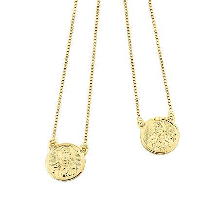 Escapulário Masculino Folheado a Ouro 18k Medalha Jesus