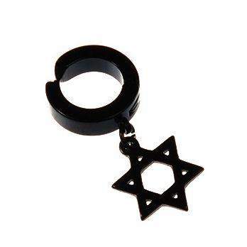 Brinco Estrela De Davi Pingente Argola De Pressão - 1 PEÇA (Não é o par)
