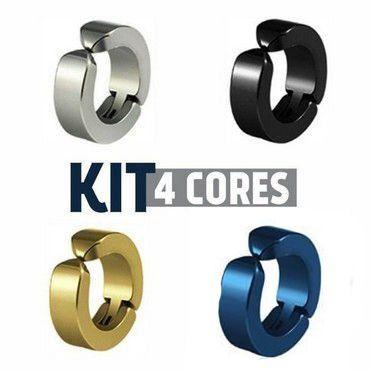 Kit Brinco De Pressão De Argola 4 Cores (1 peças de cada cor).