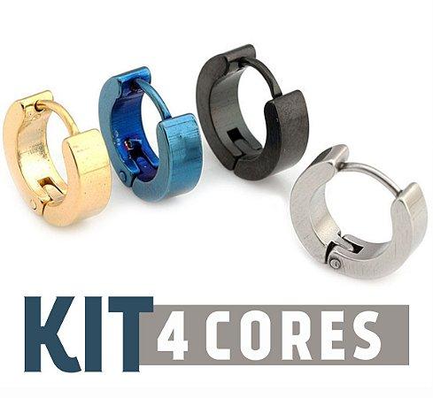 Kit de Argola Aço inoxidável 4 cores (1 peça de cada cor)