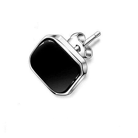 Brinco Masculino SilverBlack Quadrado 7mm - PAR