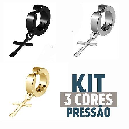 Kit Brinco Cruz Pingente de Pressão 3 Cores (1 peças de cada cor)