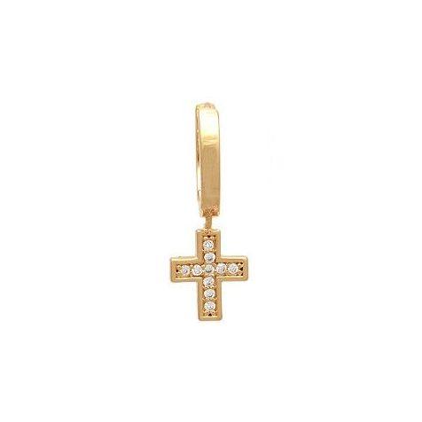 Brinco Masculino Cruz Folheado a Ouro Microzircônia  18k - 1 Peça (Não é o par)