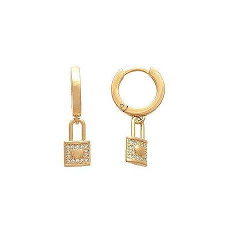 Brinco Argola Com Cadeado E Chave - Par - Folheado a ouro 18k