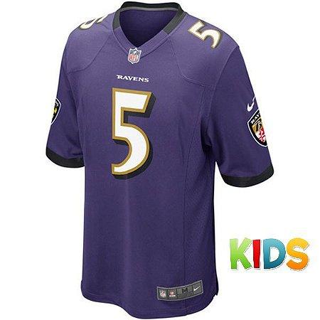 f0b44c972 Camisa Infantil NFL Baltimore Ravens Futebol Americano  5 Flacco ...