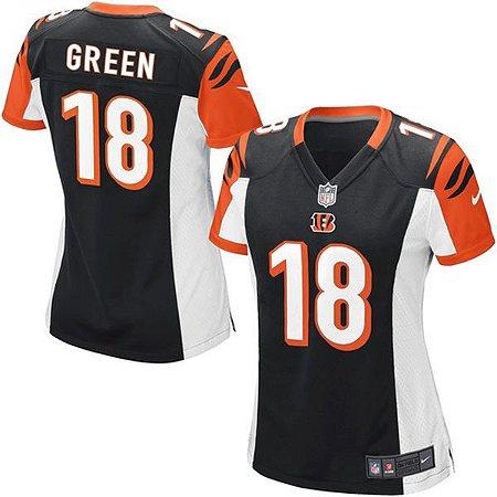 97143cade6fb2 Camisa Feminina NFL Cincinnati Bengals Futebol Americano  18 Green