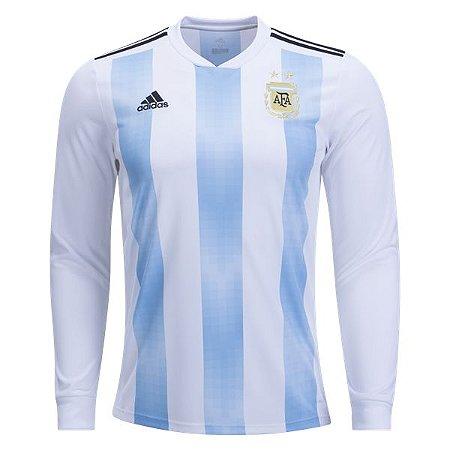 092662418d Camisa Seleção Argentina Manga Longa Home Copa do Mundo 2018 - PERSONALIZAÇÃO  E FRETE GRÁTIS