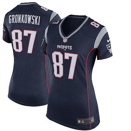 Camisa Feminina New England Patriots Nfl Futebol Americano #87 Rob Gronkowski