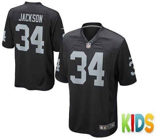 ef22da218 Camisa Infantil Nfl Oakland Raiders Futebol Americano  34 Jackson ...