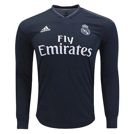 9c6184198 Camisa Real Madrid Away 2018 2019 Manga Longa - Personalização e Frete  Grátis