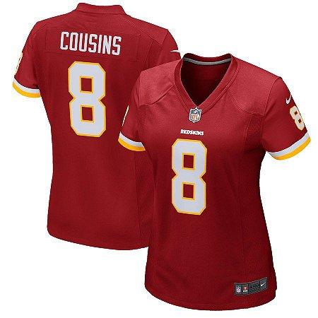 42532a1b57 Camisa Feminina Nfl Futebol Americano Washington Redskins  8 Cousins ...