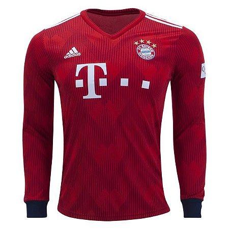 b710e6f71e113 Camisa Bayern Munique Manga Longa Home 2018 2019 - Personalização e Frete  Grátis