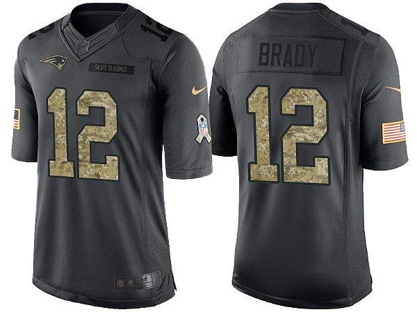 Camisa Nfl Futebol Americano New England Patriots Salute To Service #12 Brady
