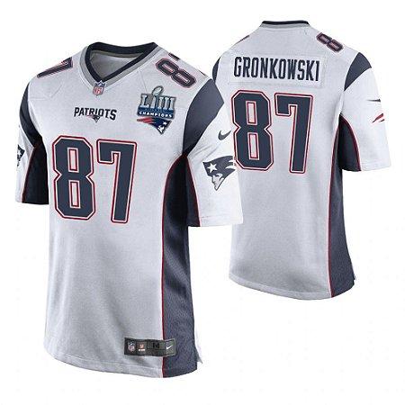 c75b35867 Camisa Nfl Futebol Americano New England Patriots Super Bowl LIII  87  Gronkowski