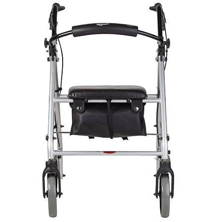 Andador de aluminio 4 rodas, assento e cesta - Mercur