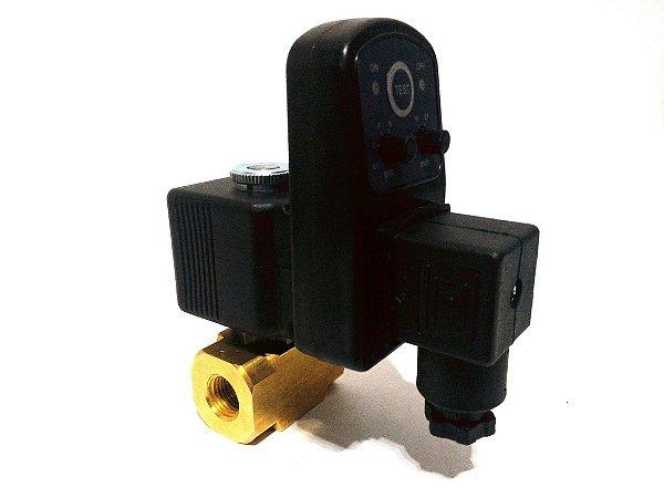 """Purgador Automático Eletrônico Para Alta Pressão 90 Bar 1/2"""" 220V"""