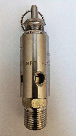 """Válvula de Segurança 1/2"""" Aço Inox Aferida e Certificada para 6kg"""