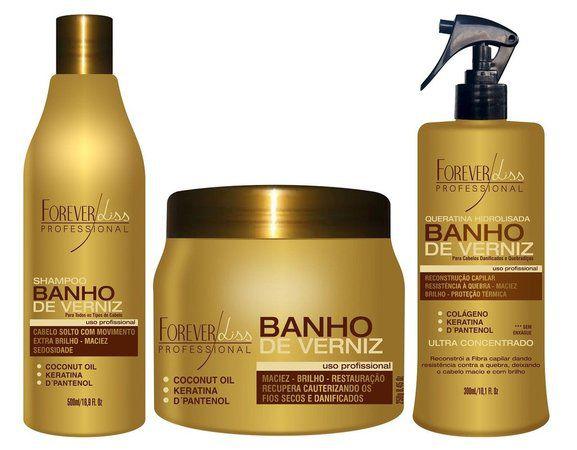Forever Liss Kit Banho de Verniz + Shampoo + Spray (3pc)