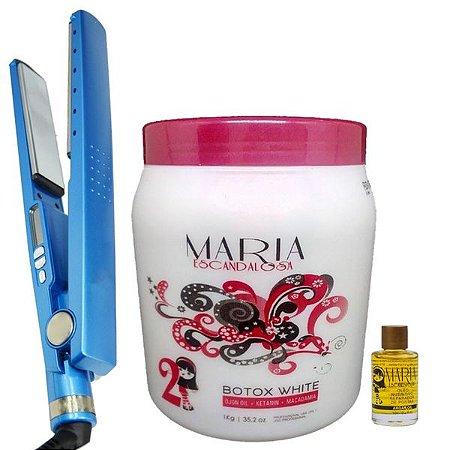 Kit Chapinha Nano Titanium Profissional + Bbtox Maria  White 1kg + Brinde