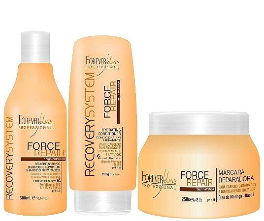 Forever Liss - Force Repair - Reparação em Casa (Shampoo 300ml + Cond 200g + Máscara 250g)