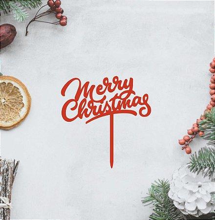 Topo Merry Christmas- Acrílico - Várias cores