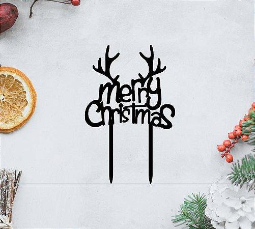Topo Merry_Christmas_Rena- MDF- Várias cores