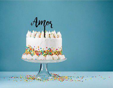 Topo de bolo - Amor MDF - Várias cores