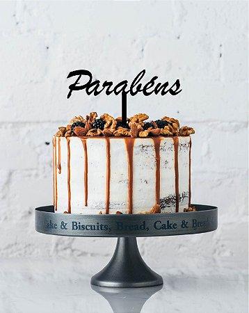 Topo de bolo - Parabens- Acrílico - Várias cores