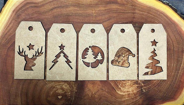 Kit - Tag de Natal 10 unidades Branca ou Cru