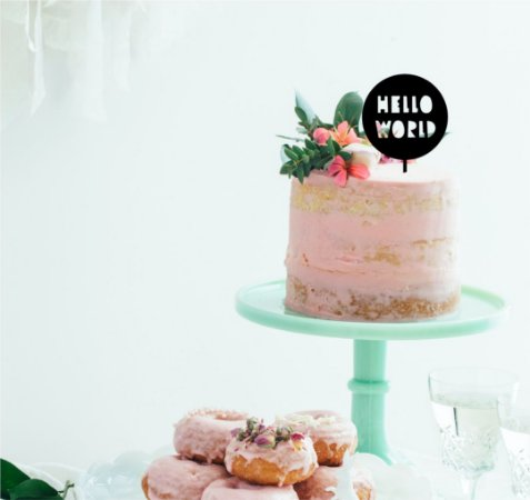 Topo - Hello World- Acrílico - Várias cores