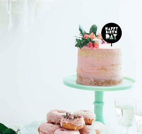 Topo - Happy Birthday redondo- MDF- Várias cores