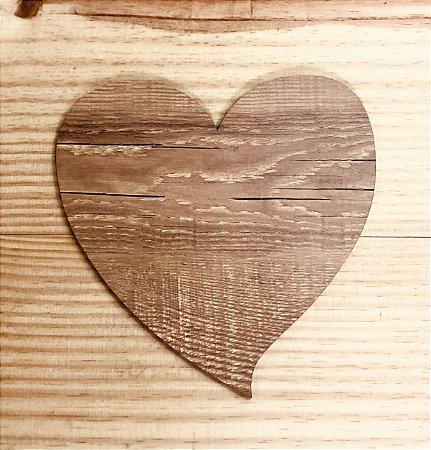Tábua coração amadeirada (1 unidade)