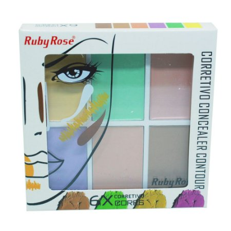 Corretivo Concealer Contour 6 Cores Profissional Ruby Rose HB-8089