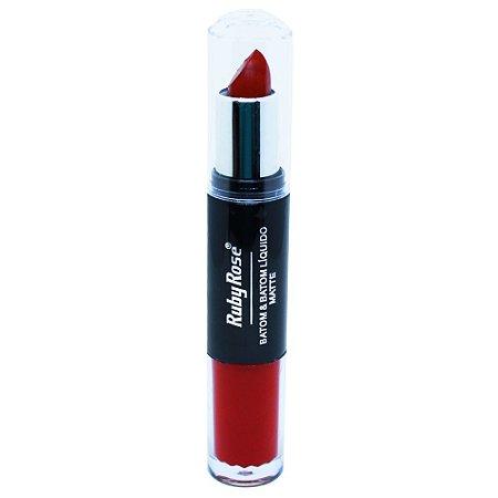 Batom Duo Matte Vermelho Ruby Rose HB-8601 - Cor 66