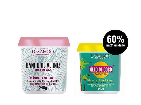 COMBO DZAHOO - MÁSCARA BANHO DE VERNIZ + ÓLEO DE COCO 240G CADA