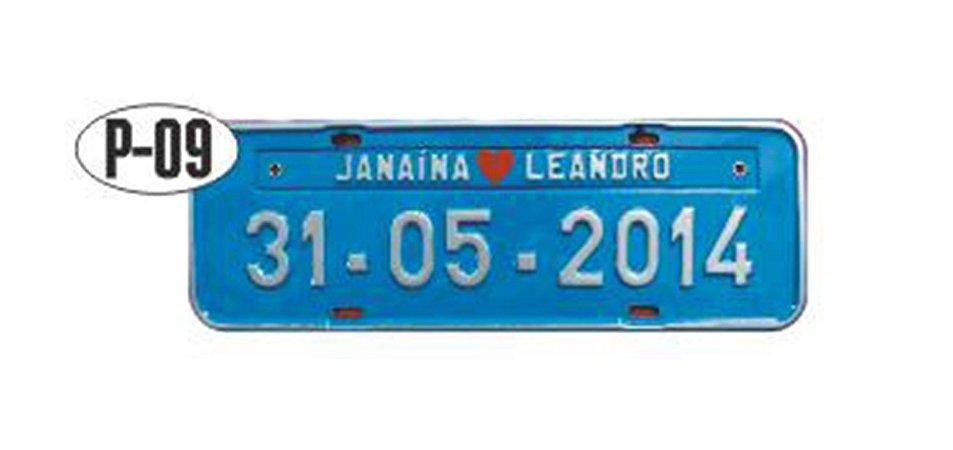 Placa de carro personalizada (Azul e Branco)