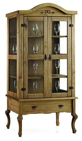 Cristaleira Luiz XV Alta com 2 Portas de Vidro e uma Gaveta - Madeira Maciça - Cor Cera Mel