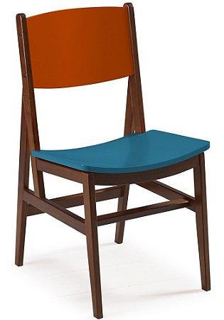 Cadeira Dumont com  Acento Azul e Encosto na Cor Laranja