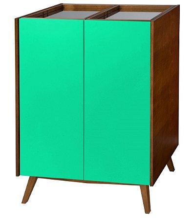 Adega Novita com 02 Portas e Bandeja Superior com Espelho na Cor Verde Limão