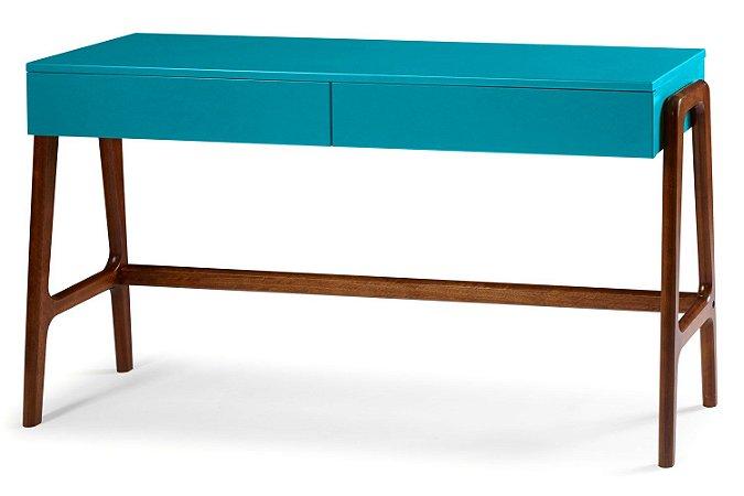 Aparador Escrivaninha Rush Retrô com 2 Gavetas - Azul Turqueza