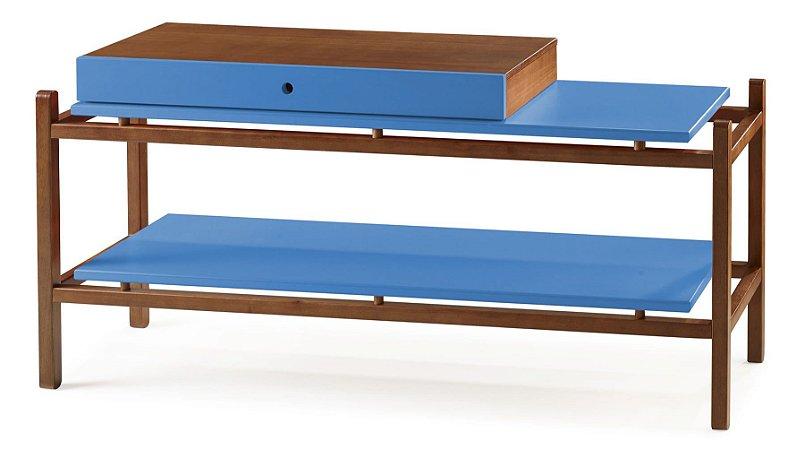 Aparador Uno com Gaveta e Prateleiras - Azul Turqueza