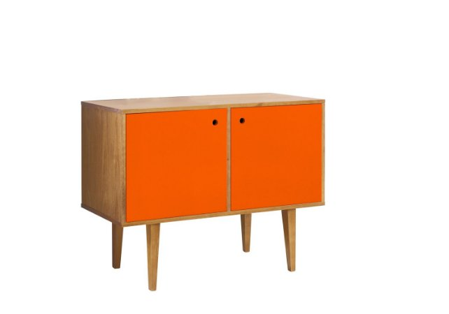 Buffet com 02 Portas Vintage na Cor laranja