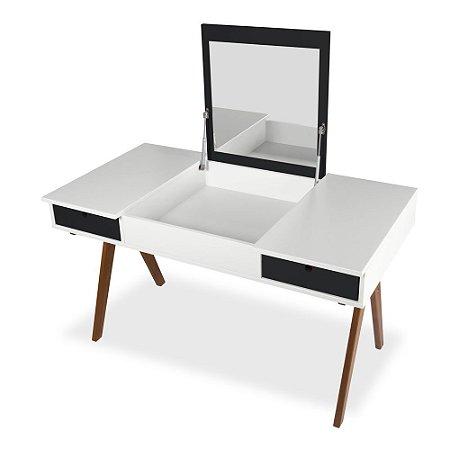 Escrivaninha ou Penteadeira Delacroix com 2 Gavetas na Cor Branco com Preto