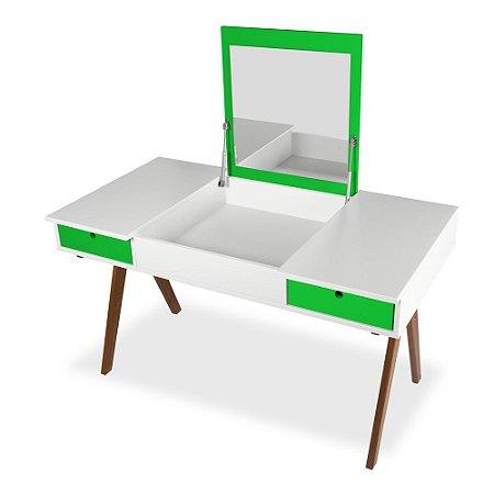 Escrivaninha ou Penteadeira Delacroix com 2 Gavetas na Cor Branco com Verde Limão