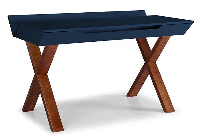 Escrivaninha Stúdio com Pés Marrom e 1 Gaveta na Cor Azul Marinho