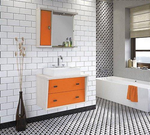 Conjunto para Banheiro Suspenso com Espelheira e Balção com 2 Gavetões no Tamanho de 100cm com Cuba e Luminária na Cor Aspen - Laranja