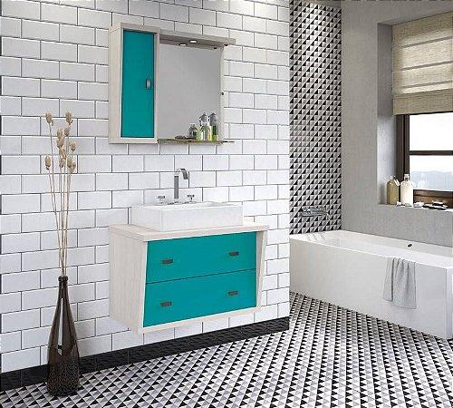 Conjunto para Banheiro Suspenso com Espelheira e Balção com 2 Gavetões no Tamanho de 100cm com Cuba e Luminária na Cor Aspen - Turqueza