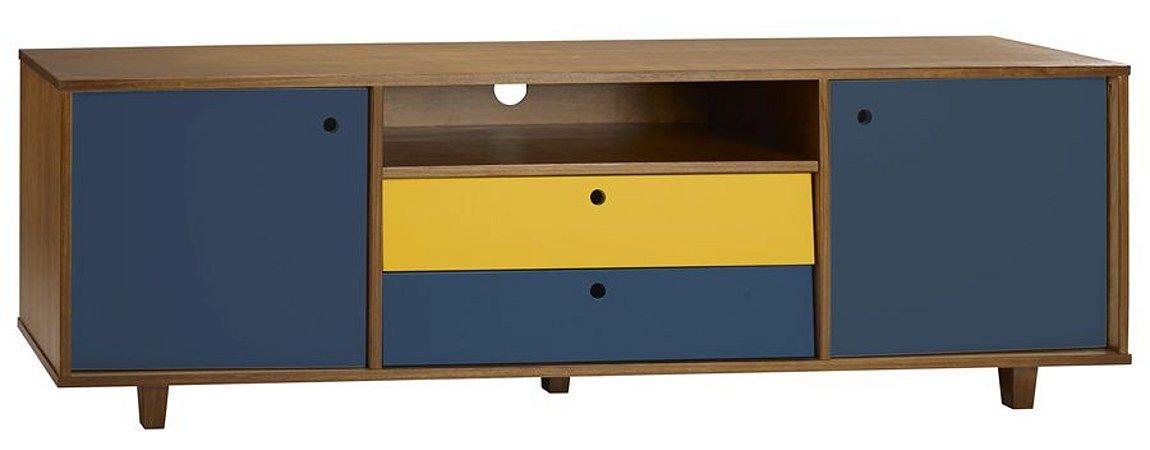 Rack Vintage com Portas e Gavetas na Cor Azul com Amarelo